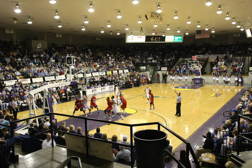 "This is a picture I shot with my 20 mm, wide angle lens at the Sportscenter in Owensboro.  Two strong division two schools played a close game.  The game ended in tragedy after Jeron Lewis, one of the USI players died from injuries he suffered during the game.  Truly a tragic ending to his life.  ""Yet you do not know what your life will be like tomorrow.  You are just a vapor that appears for a little while and then vanishes away.""  James 4:14"