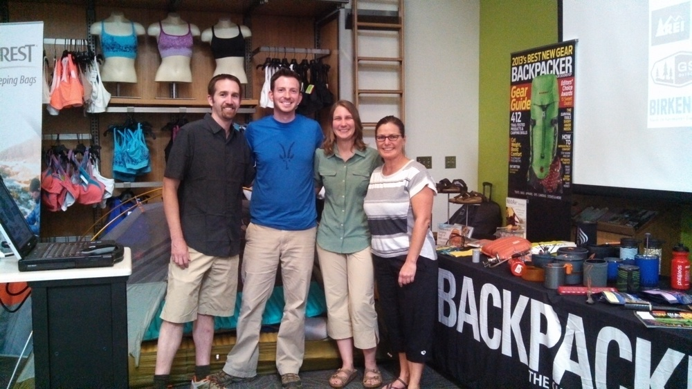 (Left to Right) Justin La Vigne, Me, Patrice La Vigne & Tammy prepping for the BACKPACKER Gear & Go Tour at the REI in Indianapolis.