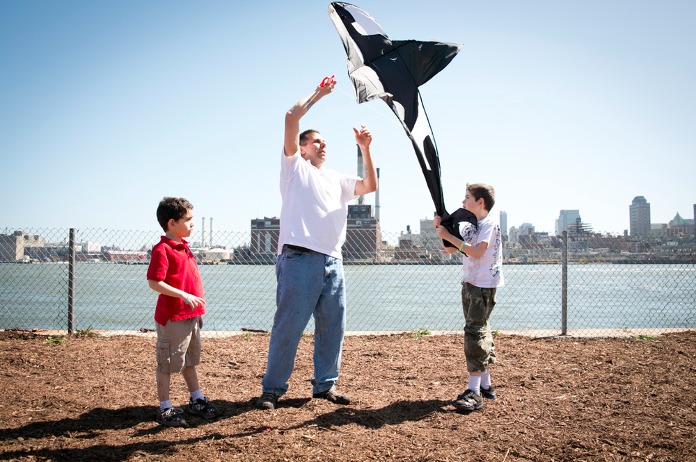 Kite flying along the newly occupied waterfront.
