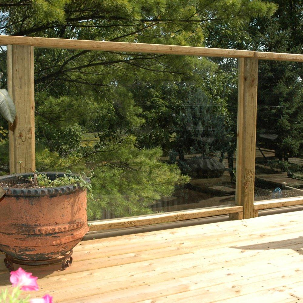 Wood Framed Glass Railing