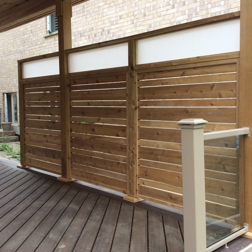 Custom Designed Wood Screen with decorative topper