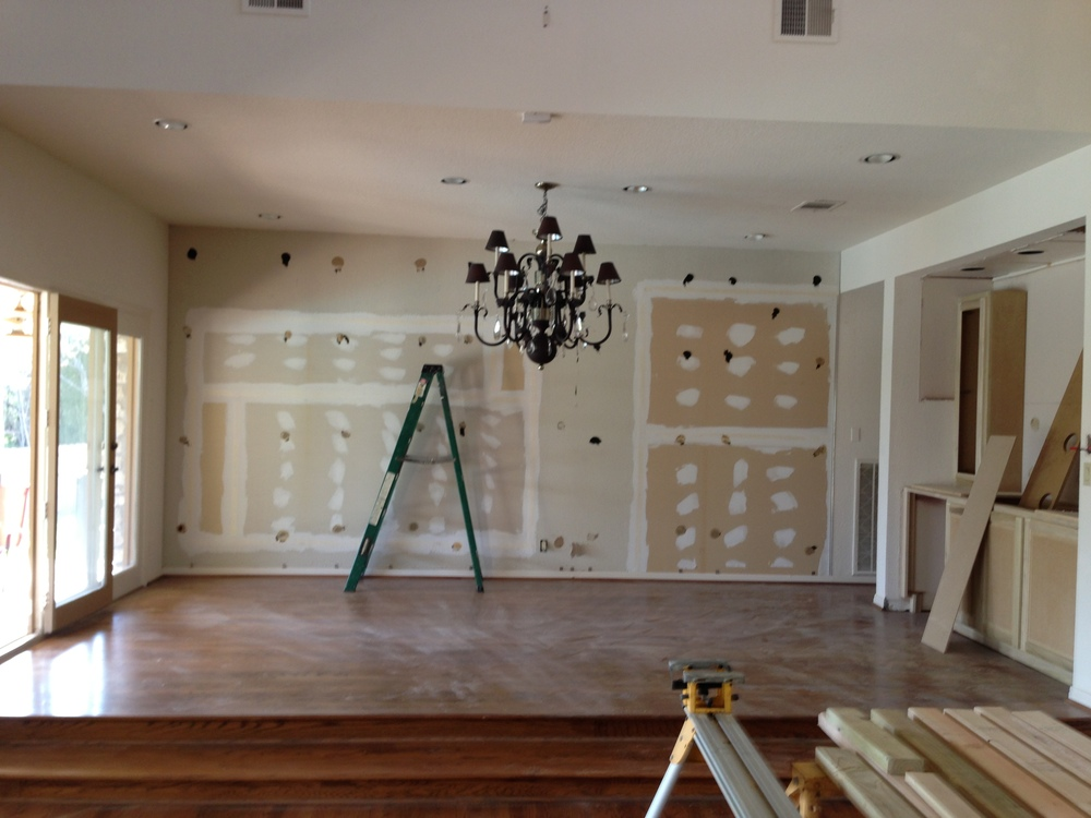 The Dining Room Mirrors are now gone.  And no, we aren't reusing that chandelier.