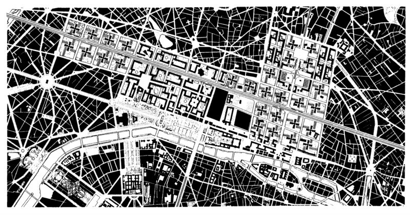 L  e Corbusier, Plan Voisin, Paris, 1925. Drawing: Stuart E. Cohen and Steven W. Hurtt. Fig. 2-6 in: TRANCIK, Roger (1986). Finding Lost Space. Theories of Urban Design. Van Nostrand Reinhold Company, New York.