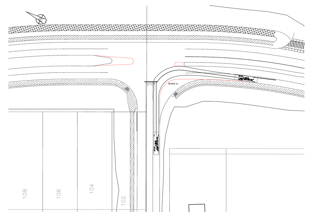 An expert solves the problem of the turning radius of a transit bus at an urban street intersection at the expense of economic development and other modes of travel. The red lines indicate the location of the curbs as initially designed by the urban design team. The new curbs (in black) represent the engineers proposed solution.