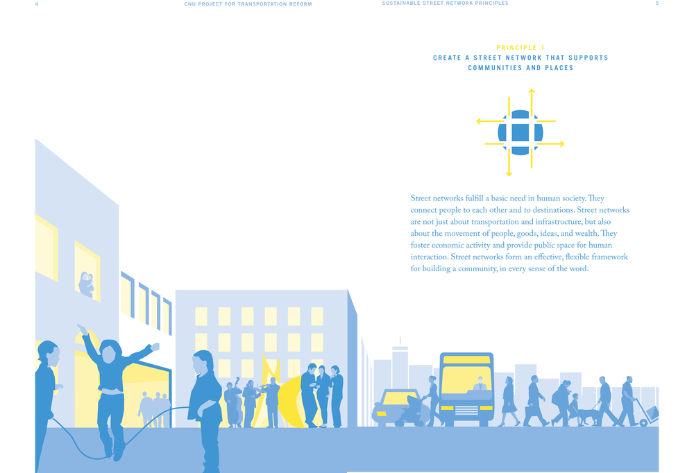 A spread from the CNU Project for Transportation Reform Sustainable Street Network Principles.      © 2012The Congress for the New Urbanism.