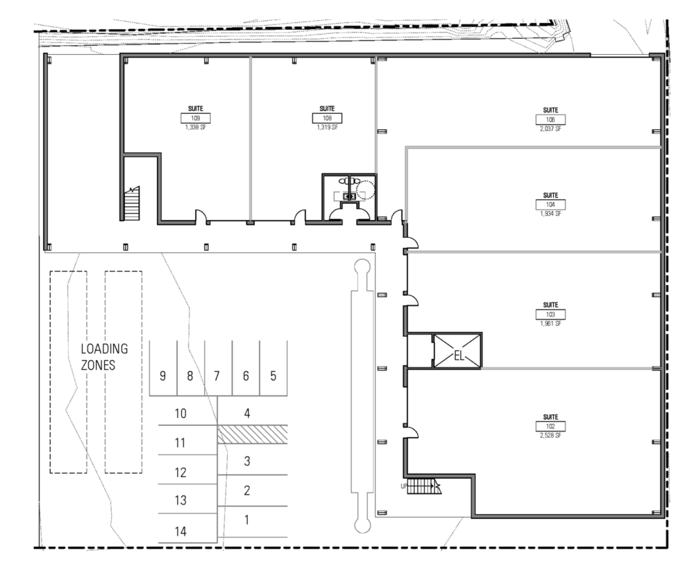 Floor plan shows the two column grids for each of the two building framing systems.