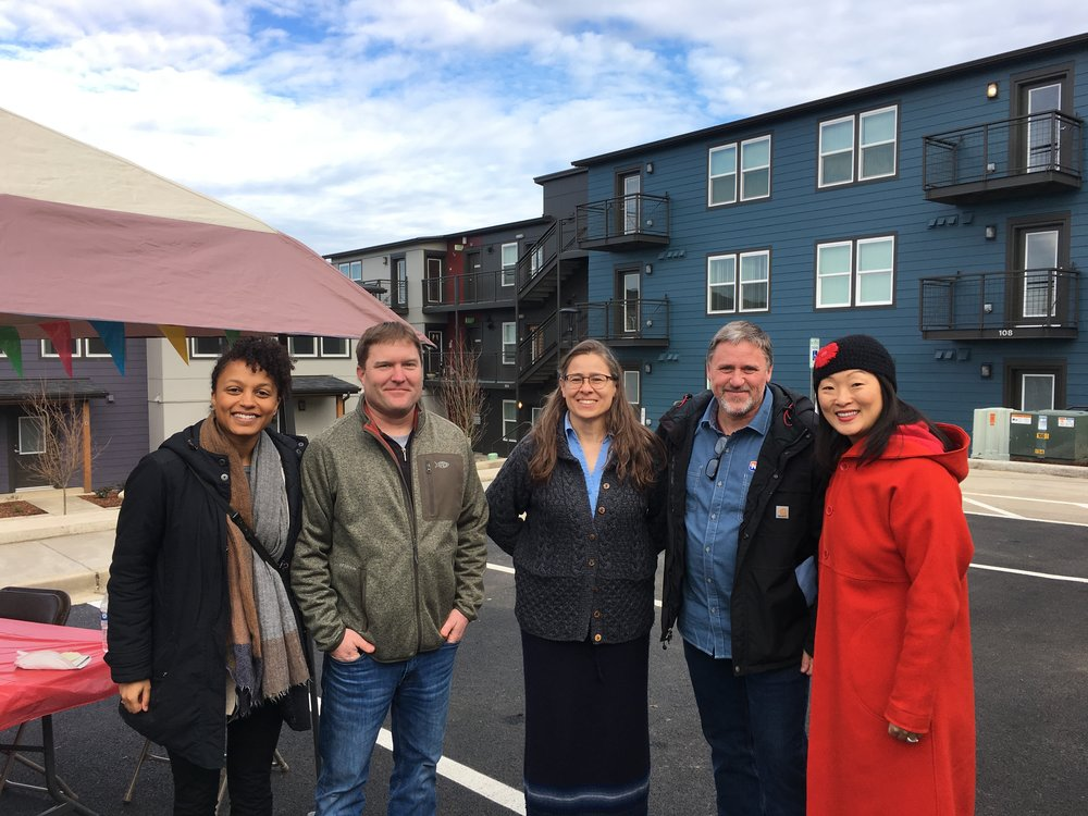 a portion of the project team from left to right; Margaret Knight (Schemata Workshop), Korey Smith (Neeley Construction), Annie O'Rourke (Peninsula Housing Authority), Dan Wolfe (Neeley Construction), Grace Kim (Schemata Workshop)