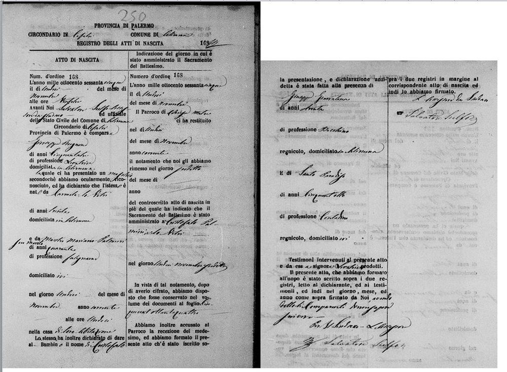 Palmieri Cristofaro Palmieri birth 1865.JPG