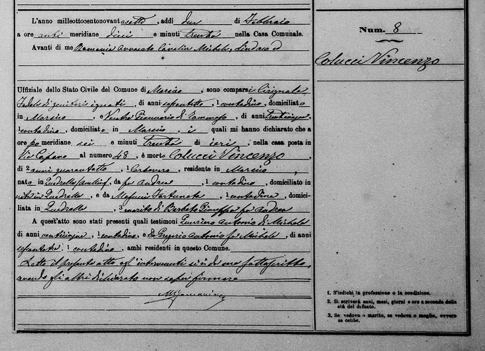 Colucci Vincenzo Colucci 1897 Death self.jpg