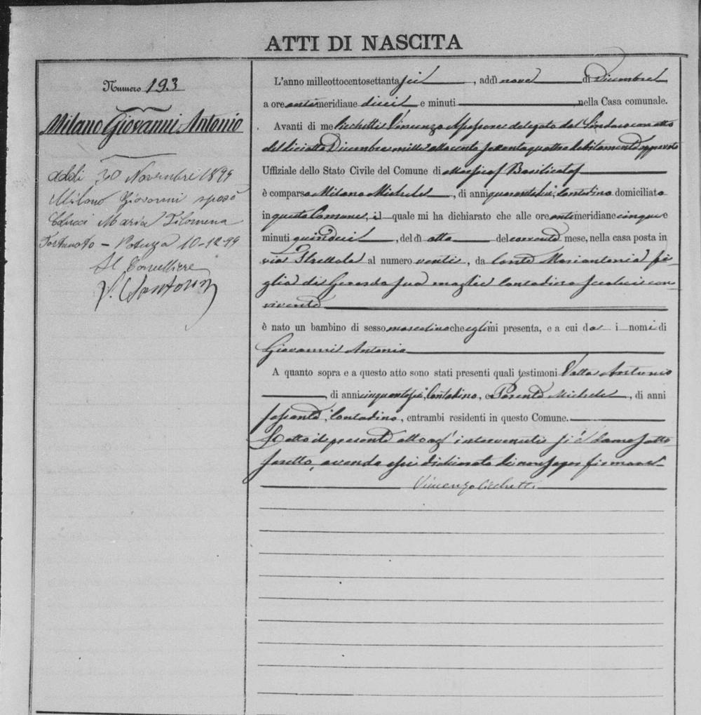 1876 Milano Giovanni Antonio Dec 8 1879 birth record.jpg