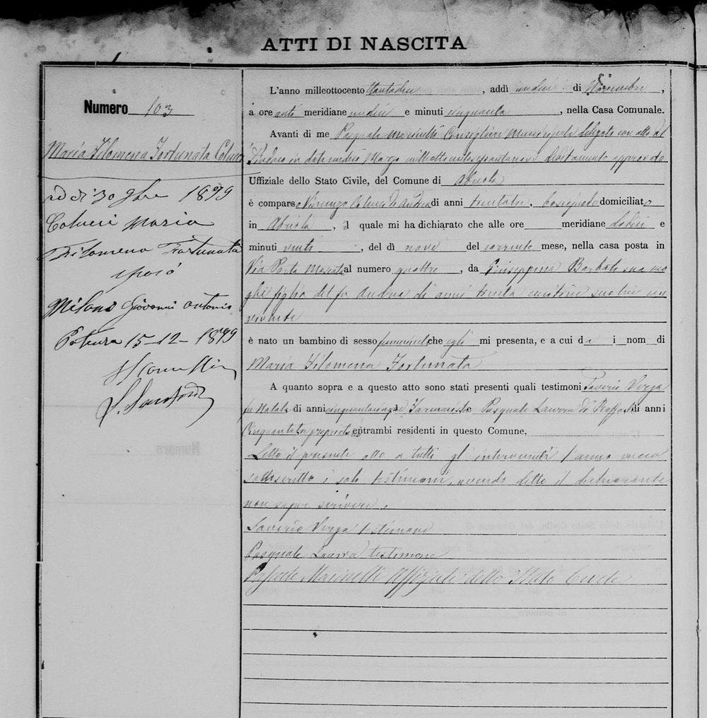 1882 Milano  Filemena Nov 12 1882 birth record.jpg