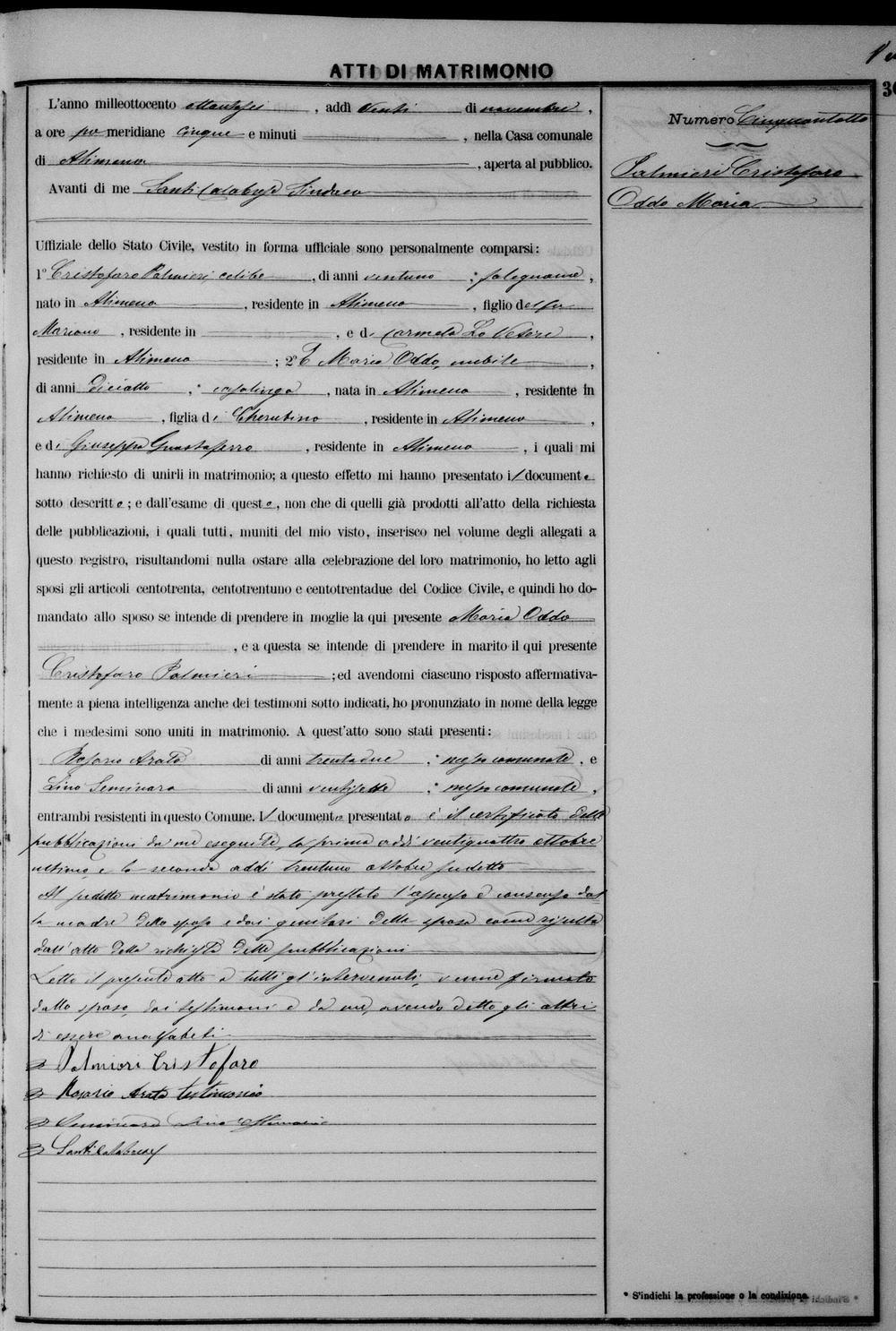 Palmieri Christofaro Palmieri and Maria Oddo Wed 1886 self.jpg