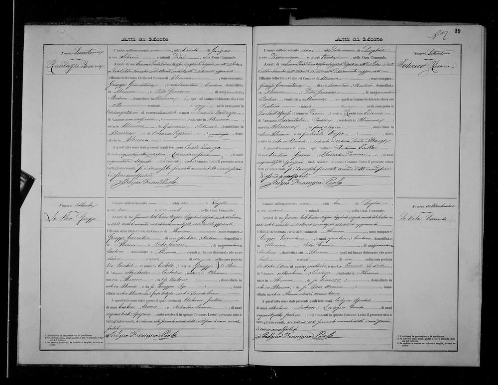 Lo Vetre Carmela Death record 1901.jpg