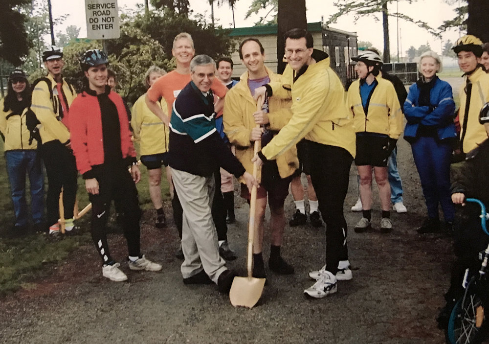Groundbreaking ceremony for pathway construction at Moody Park and Seventh Avenue in New Westminster, part of the completion of the crosstown greenway (early 2000s).