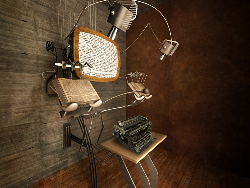 Futuristic Simultaneous Reading Machine by Michael Hara. A complex machine fashioned from old technology displays books on a viewscreen, a typewriter and two books at the same time.