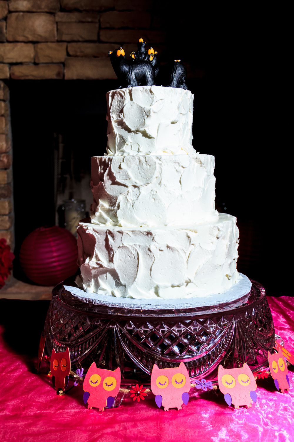 Textured Wedding Cake.  Topper not included.