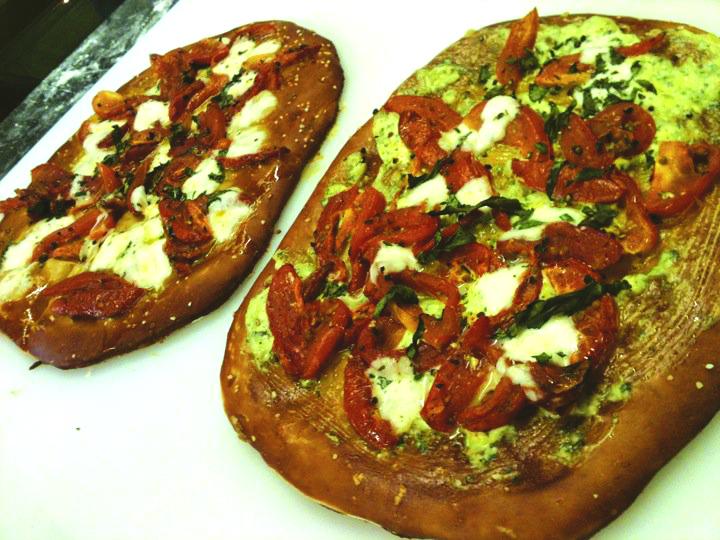 Margherita pretzel flatbreads