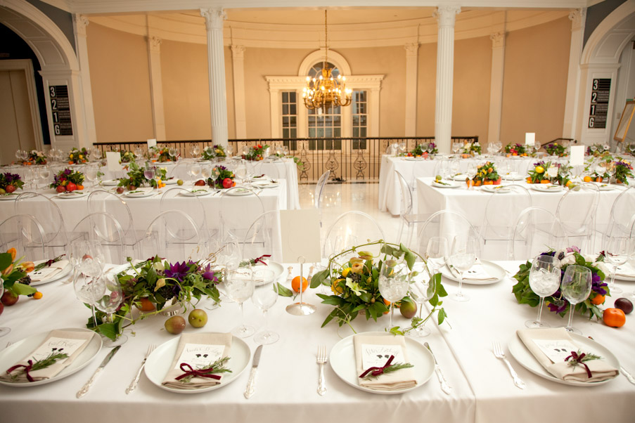 Wedding Dinner at The Museum of the City of New York in our Marble Court. Silkstone- Catering Emily Thompson- Flowers Richard Jopson- Photography Mr. Boddington Studio - Invites/Programs/Seating Cards