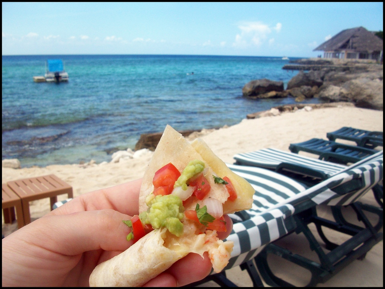 thebestbite: Shrimp Quesadilla with Guac and Pico de Gallo. Playa Azul, Cozumel Mexico Jessica sent this beautiful bite many months ago. I think it's appropriate to share it now that the sun is out. Thanks again to Best Bite All-Star Jessica for sharing.  I have a few bites in storage but please startsubmitting your Best Bites to thebestbite@gmail.com