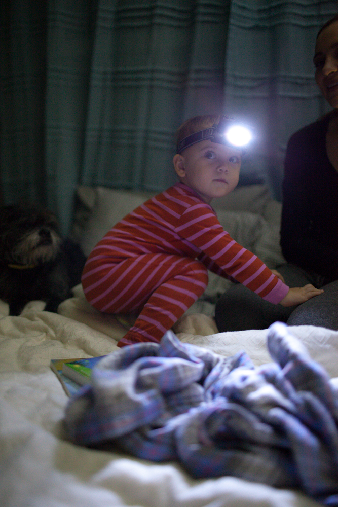 She discovered the flashlight.  Courtesy of Mike :)