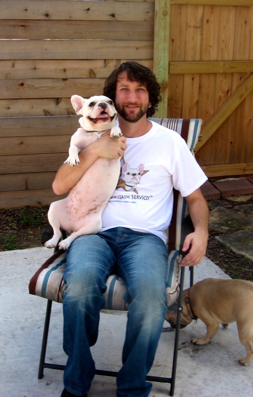 Austin pet sitter Josh Margolis with French Bulldog Penny