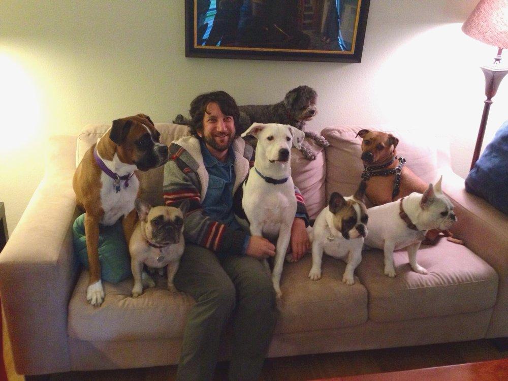 Josh Margolis with French Bulldog Gigi.