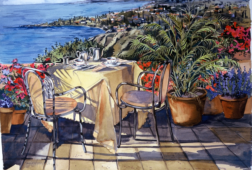 On the Terrace  /  Watercolor