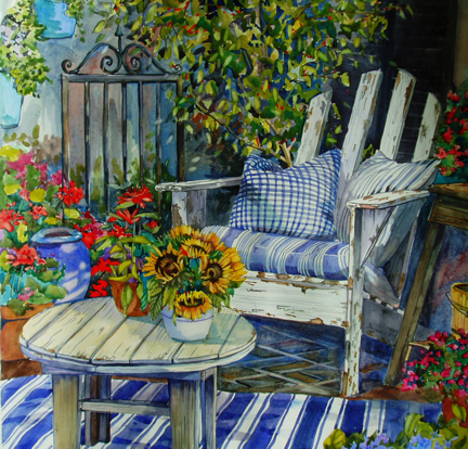 Santa Monica Patio- original watercolor