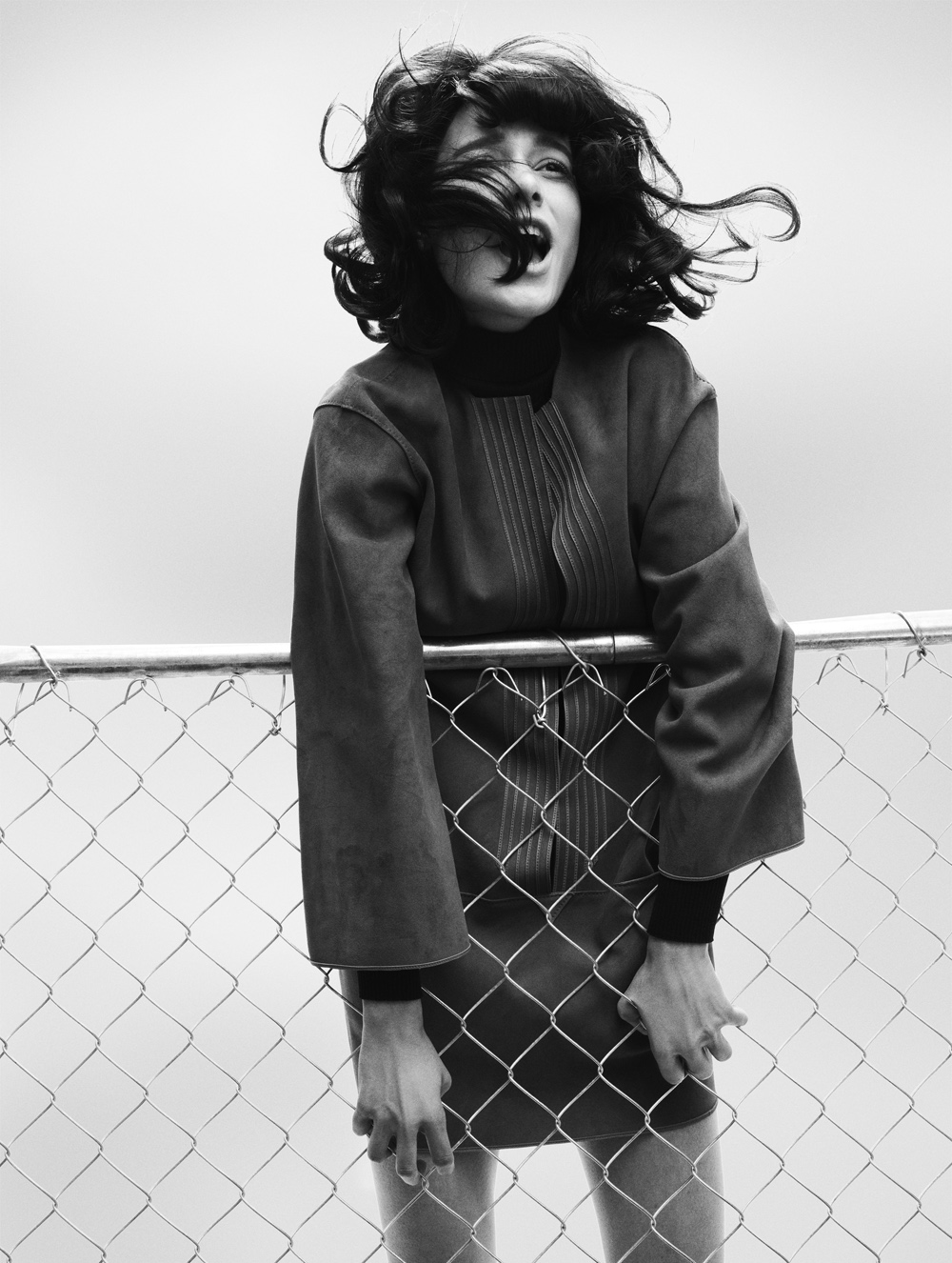 oystermag :      Oyster #98: Baby It's You    Hermès dress, Wolford top Bally coat, Ralph Lauren shirt