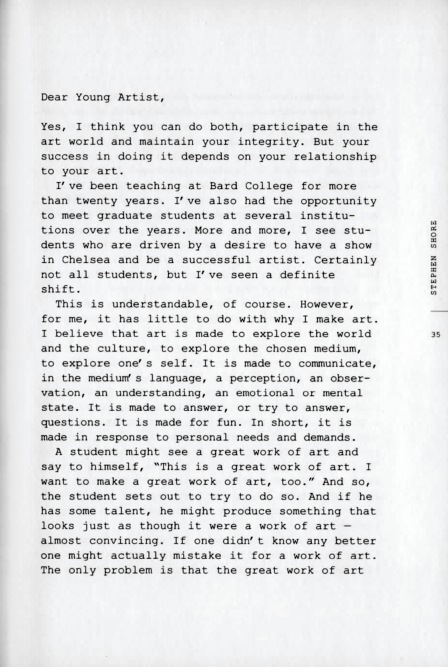 jennilee :     Letter to a Young Artist by Stephen Shore   (Continue  here )