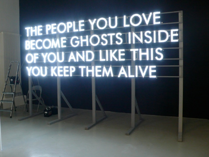 "visual-poetry :     ""the people you love become ghosts inside of you and like this you keep them alive"" by  robert montgomery"