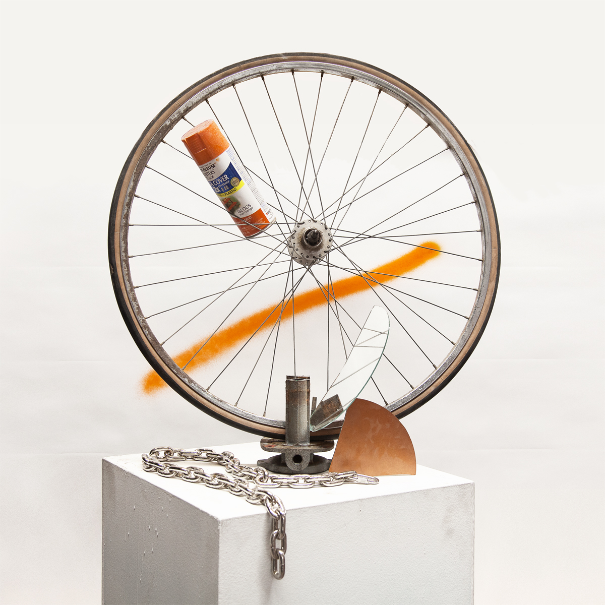thejogging: Miscellaneous Studio Junk that Looks Like a Plausible Sculpture, 2013 (Photographed in a Way that Demands to be Taken Seriously) Bushwick Version: Wheel, chain, scrap metal, mirror, racial tension, spray paint. Dimensions variable