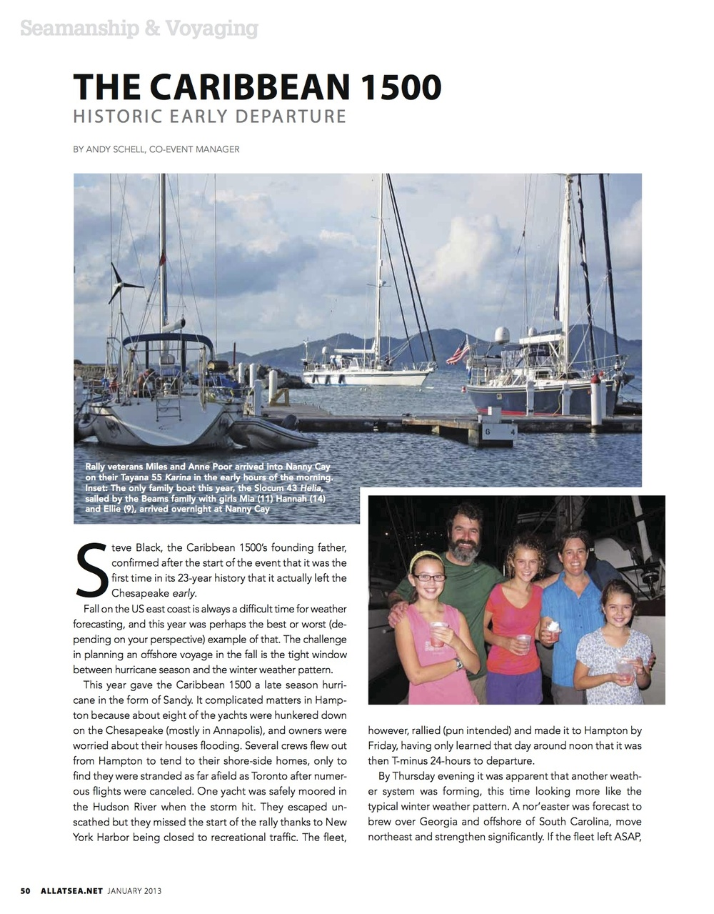 January 2013, Caribbean 1500 Early Departure