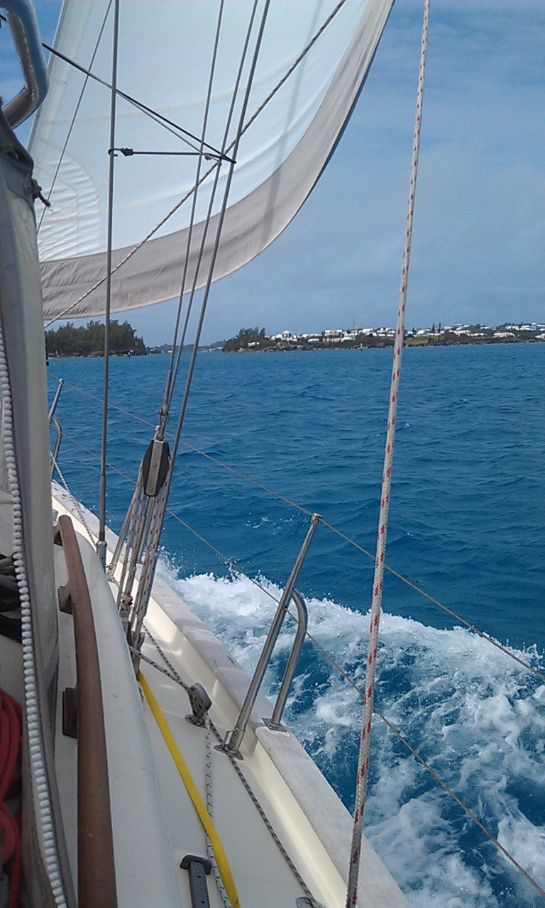 Saudade coming in to Bermuda.