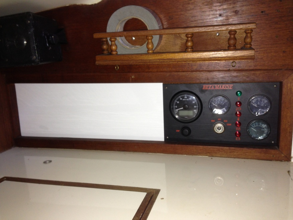 The new Beta engine panel, installed just inside the companionway steps.