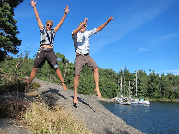 Our jumping photo! In Ålö, with Arcturus in the background.