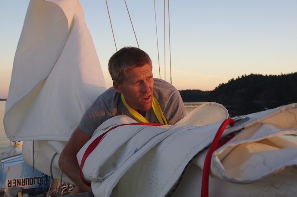 Furling the mainsail outside Södertälje.