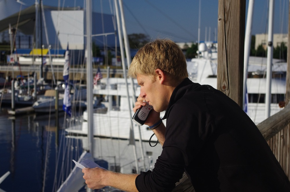 Andy giving the C1500 0900 morning broadcast at Ocean Marine.