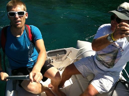 Les Saintes - vår jolle som vi ror/paddlar för att ta oss från båten till land