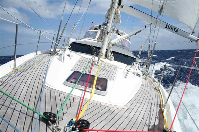 The ARC yacht Surya sent this photo in from at sea, finally enjoying the downwind conditions