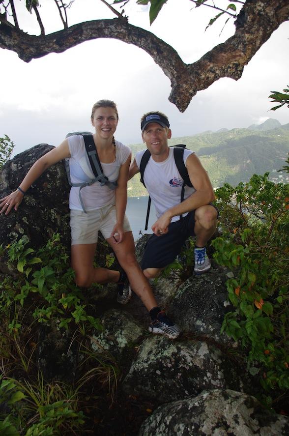 Petit Piton - Andy och jag med utsikt över Soufriere