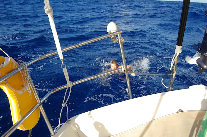 Hove-to for a swim! St. Croix to the Bahamas leg.