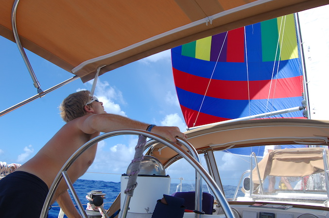 Wing-on-wing and checking sail trim with the small A sail.