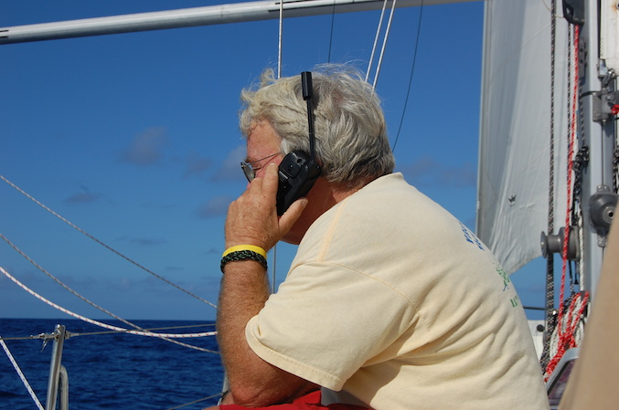Cell phones don't work out here...but satellite phones do. Calling the family back home.