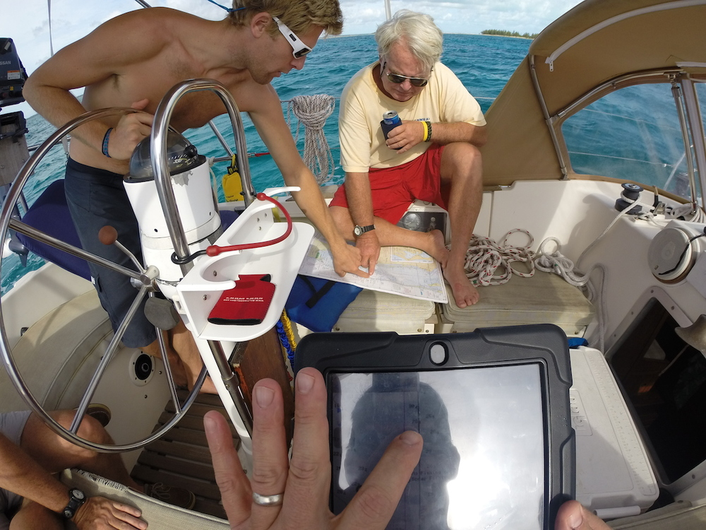Running the reef break at Little Harbor in the Abacos. Note the modern (iPad) nav, and the old school chart nav.