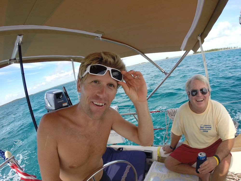 Happy faces and blue water now inside the reef in the Abacos.