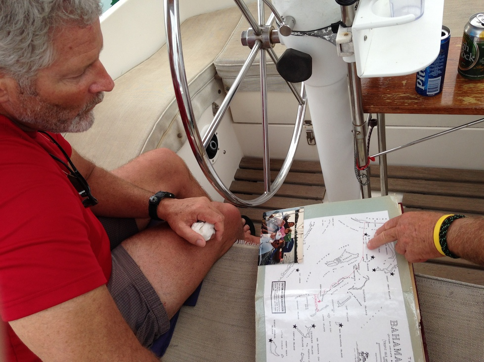 Show and tell time with Dad and Tom, explaining where we went on our Bahamas trip in 1993/94.