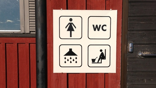 No, that's not a sign meaning old ladies can sit in the shower...that's a sauna! This is the public showers at the marina in Mariehamn, Åland.