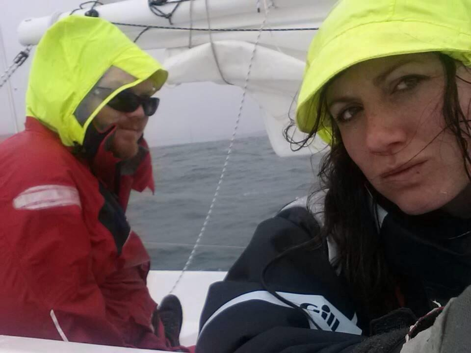 Matt Rutherford & Nicole Trenholm depart a wet and windy San Francisco Bay on tiny Sakura.