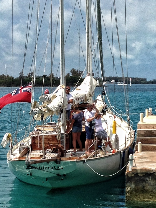 The classic Desiderata pulled onto the Dinghy Club just as the fleet departed Bermuda.